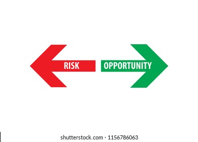 Risk and opportunity assessment red left green right arrows with white text on empty background. Simple concept for pros / advantages and cons /disadvantages in business planning. Vector illustration