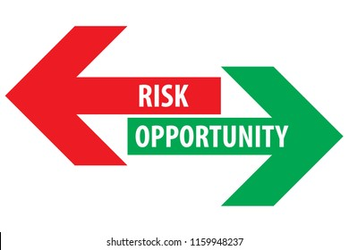 Risk and opportunity assessment red left green right arrows with text on empty background. Simple concept for pros cons, advantages disadvantages in business planning. Vector illustration.