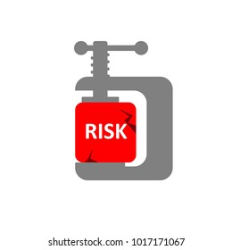 Risk reduction concept shows a red risk cube compressed by a clamp