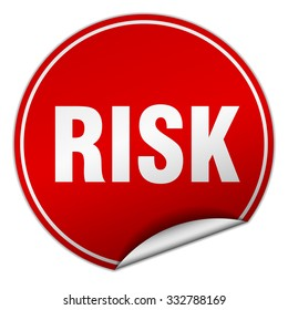 risk round red sticker isolated on white