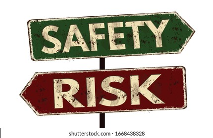 Risk -Safety vintage rusty metal sign post on a white background, vector illustration