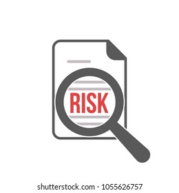 Risk Word Magnifying Glass. Vector illustration