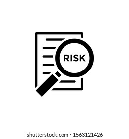 Risk Word Magnifying Glass vector icon in black flat design on white background, Risk Managment icon, Vector illustration