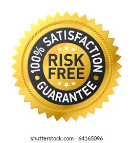 Risk-free guarantee label. Vector.