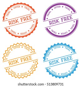Risk-free trial offer badge isolated on white background. Flat style round label with text. Circular emblem vector illustration.