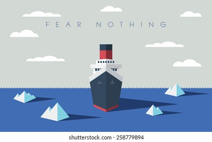 Risky adventure exploration business concept. Fearless explorer ship and icebergs in sea. Eps10 vector illustration.