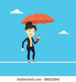 Risky business woman walking across a tightrope with umbrella. Risky business woman balancing on a tightrope. Concept of risk and challenges in business. Vector flat design illustration. Square layout