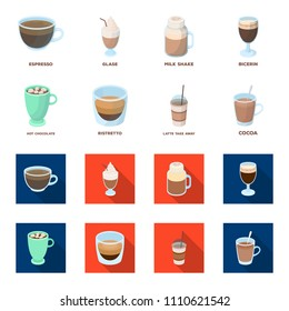 Ristretto, hot chocolate, latte take-away.Different types of coffee set collection icons in cartoon,flat style vector symbol stock illustration web.