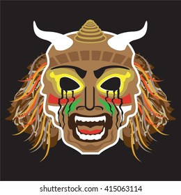 Ritualistic Tribal Mask Vector