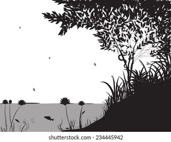 river bank with grass and tree, forest pond, shadows, jungle, vector