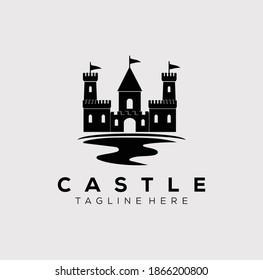 river castle logo vector illustration design