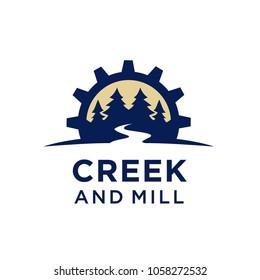 River Creek Gear Mill Forest Nature logo design inspiration