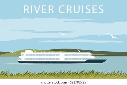 River cruise ship. Recreational waterway travel. Illustration in flat design. Summer trip background