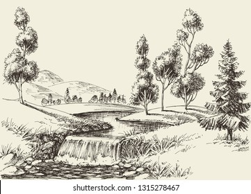 River flow landscape. Hand drawn nature background