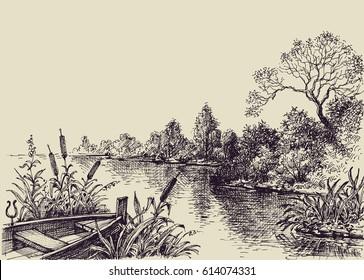 River flow scene. Hand drawn landscape, boat on shore