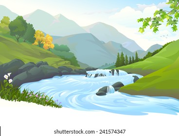 River flowing down stream across a beautiful forest