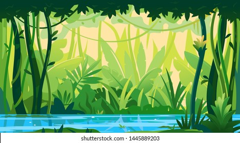 River flows through the jungle around different plants and trees with lianas, wildlife of tropical forest flooded with water, illustration of equatorial jungle, rainforest background