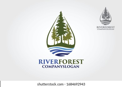 River Forest Vector Logo Template. An excellent logo template suitable for any business related to eco, green, nature, consulting, socail etc. This logo features with pines tree and a river.