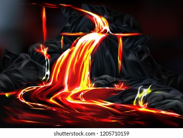 River and fountains of hot lava flowing from mountain rocks during volcano eruption realistic vector illustration. Dangerous natural disaster or cataclysm caused by tectonic activity or earthquake