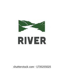 River green ridge logo, highland illustration, for company symbol and outdoor sign.