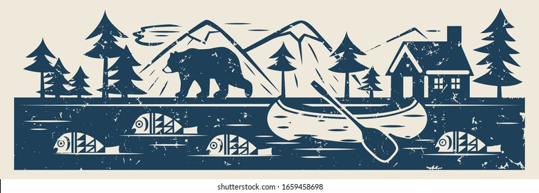 River or lake, fish, canoe, bear, forest, mountains and  lodge on the shore. Vector vintage illustration.
