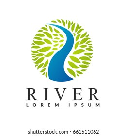 River logo. Water with leaf icon. Eco water sign. Green, Save, Eco energy, Eco friendly, logo. Cleaning water systems logo. Aqua filters icon. Clean water sign.