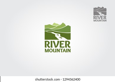 River Mountain Vector Logo Template. This logo features a mountain landscape with a river. You can use this logo for any business, especially for travel companies.