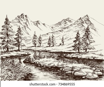 Mountain Drawing Images Stock Photos Vectors Shutterstock