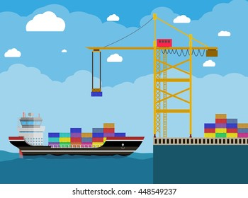 River ocean and sea freight shipping by water. cargo ship and container crane. Background with blue sky and clouds. vector illustration in flat style