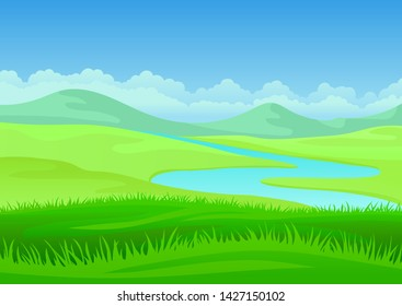 River on a hilly meadow. Vector illustration on white background.