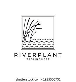 river plant cattail icon logo vector symbol illustration design, nature plant in square logo design