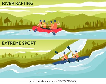 River rafting - extreme water sport banner with cartoon people on boat holding paddles and navigating a raft. Colorful flat vector illustration for active outdoor activity ad.