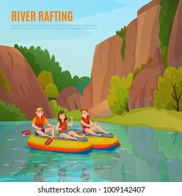 River rafting people composition with cartoon style human characters and mountain river landscape with editable text vector illustration
