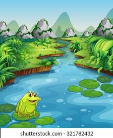 River scene with frog on leaf illustration