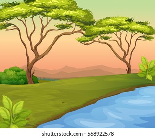 River scene with trees in the field illustration