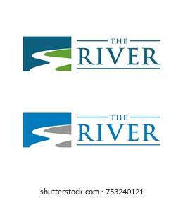 River shape logo design template vector