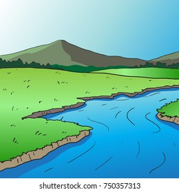River side cartoon drawn. vector background