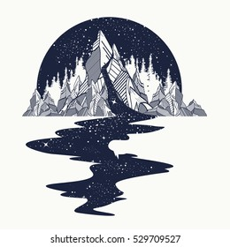 River of stars flows from the mountains, tattoo art. Infinite space, meditation symbols, travel, tourism. Endless universe concept. Mountains t-shirt design, surreal graphics