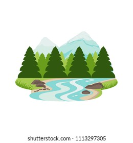 River Stream in Pine Forest Mountain Landscape Vector