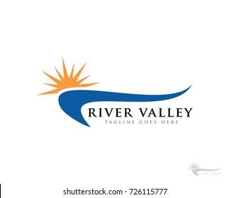 river sun logo icon vector template