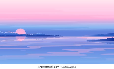 River sunset landscape with clouds and mountains in purple colors, nature landscape illustration, morning fog on lake, sunset on the beach background