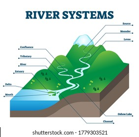 River systems and drainage basin educational structure vector illustration. Geological description with water flow from source to sea. Labeled scheme with levee, confluence, tributary, delta and oxbow