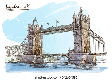 River Thames  panorama with The Tower Bridge. Painted sketch. EPS10 vector illustration.