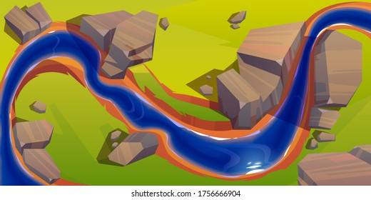 River top view, cartoon curve riverbed with dark blue water, reflection, rocks on coastline and green grass. Summer landscape, beautiful valley, scenic picturesque natural stream, vector illustration