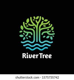 River Tree eco logo line art. design vector nature graphic minimalist logo template