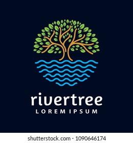 River Tree Logo circle shape design vector template