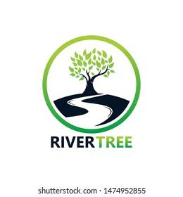 River Tree Logo Template Design Vector, Emblem, Design Concept, Creative Symbol, Icon