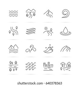 river vector line icons, minimal pictogram design, editable stroke for any resolution