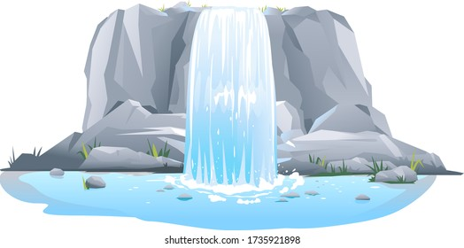 River waterfall falls from cliff in front view isolated illustration, picturesque tourist attraction with small waterfall and clear water, waterfall on steep rocky stream
