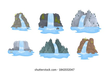 River waterfall falls from cliff on white background. Cartoon landscapes with mountains and trees. Picturesque tourist attraction with small waterfall and clear water. Vector illustration.